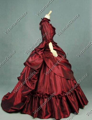 Victorian Costumes: Dresses, Saloon Girls, Southern Belle, Witch  Victorian Bustle 5PC Satin Dress Ball Gown Theatre Women Costume 330 $189.00 AT vintagedancer.com