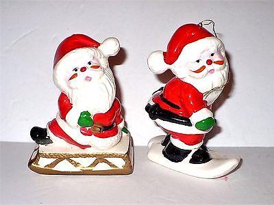 2 Vintage Christmas Ceramic Santa Claus Ornaments Skiing Sledding Very Cute Ebay