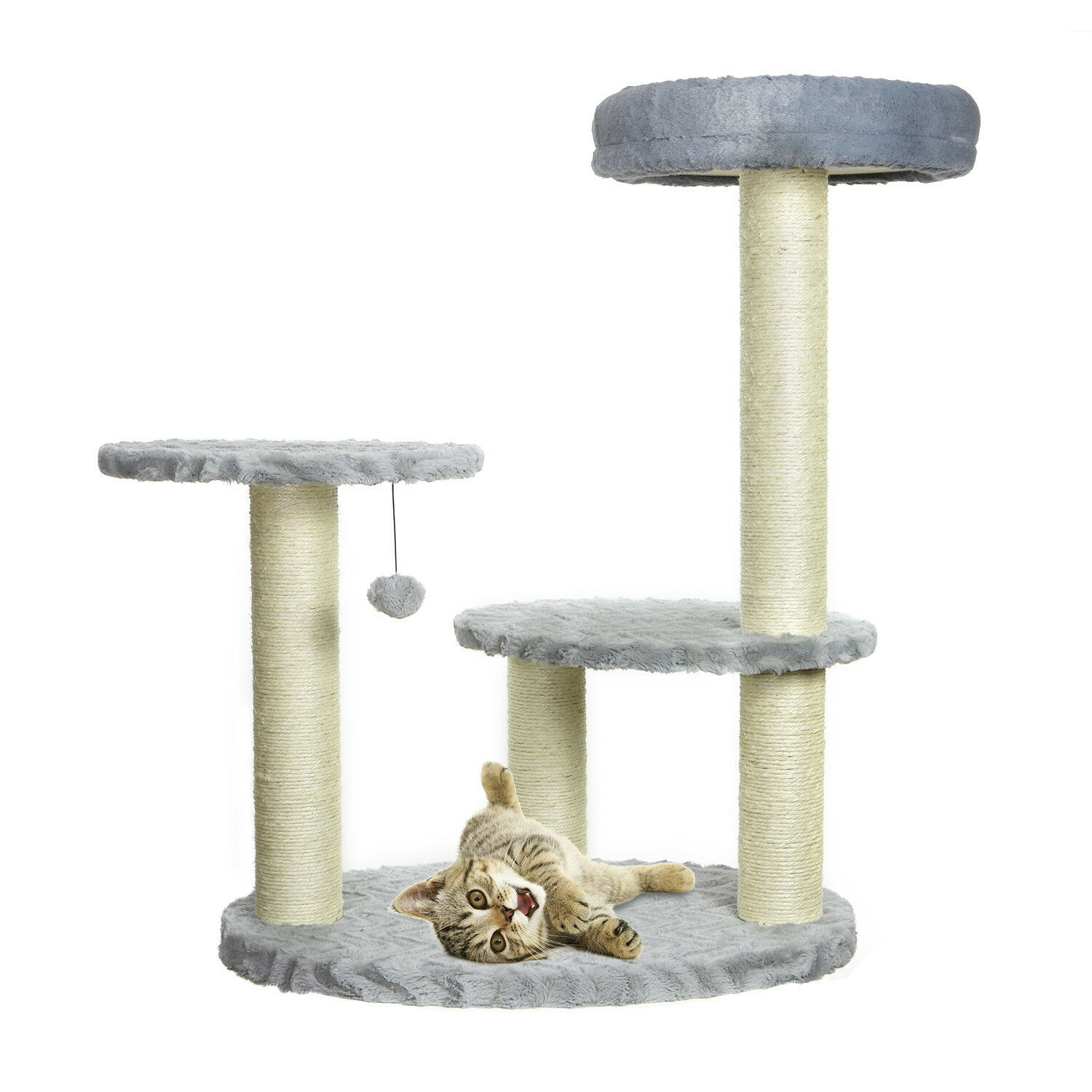 PARTYSAVING PET PALACE Grey Faux Fur Multilevel Cat Activity Tree Play Tower