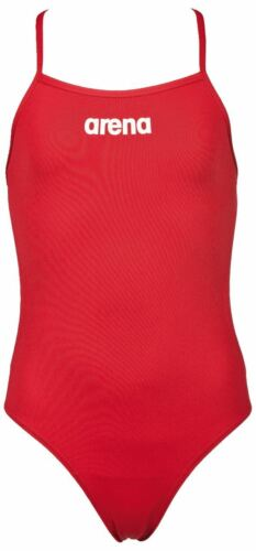 Red Arena Girls Solid Lightech Swimming Costume