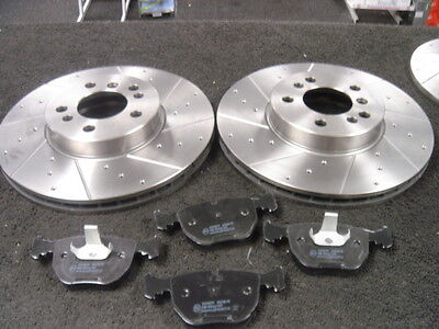 BMW X5 E70 BRAKE DISC CROSS DRILLED GROOVED MINTEX PADS FRONT