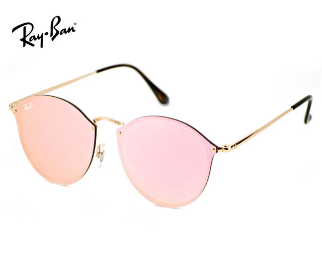 db72d562fb Ray-Ban Blaze Hexagonal RB 3579n 001 e4 Gold Sunglasses Pink Mirror Lens  58mm