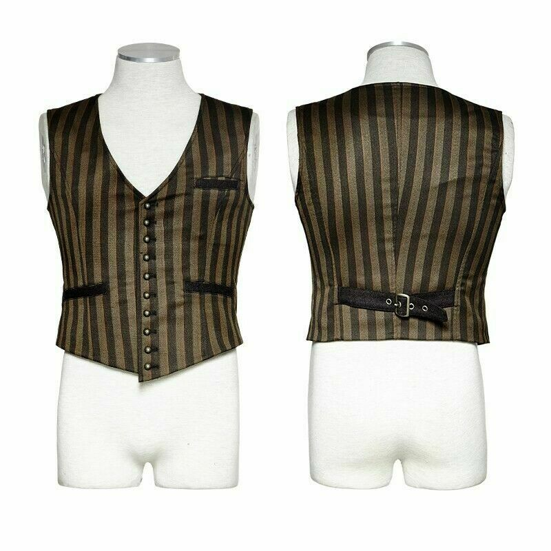 Punk Rave Men Stripe Faux Leather Washed Steampunk Gothic Waistcoat