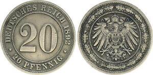 Empire 20 Pfennig 1892 E, J.14 VF