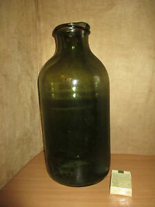 ancien grand bocal en verre souffl vert et brun orang xix me ebay. Black Bedroom Furniture Sets. Home Design Ideas