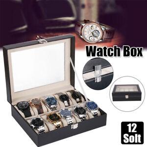 12-Slot-Leather-Watch-Box-Display-Case-Organizer-Glass-Jewelry-Storage-Holder-US