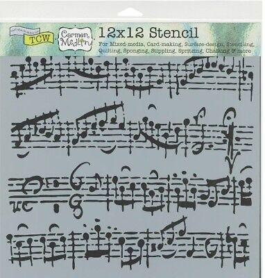 12x12 Sheet Music Design Crafter Workshop Mixed Media Art Layering Stencil