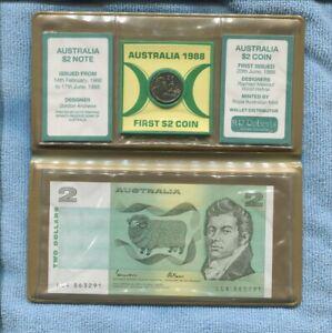 1988 Last $2 Note & First $2 UNC Coin in folder Australia