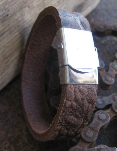 Büffelleder Leder Armband Männerarmband braun Herren neu Lederarmband Edelstahl