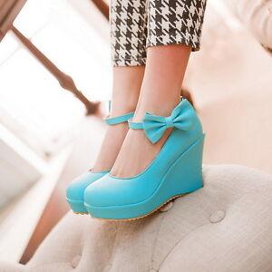 Womens-Girls-Platform-High-Wedge-Heel-Bowknow-Lolita-Sweet-Pump-Shoes-Plus-Size
