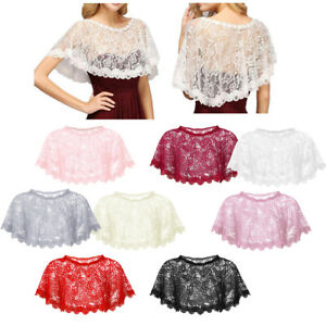 Ladies-Stretchy-Lace-Cropped-Bolero-Shrug-Women-sheer-Party-Open-Top-Wraps-Cape