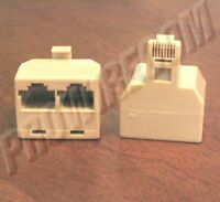 2-way Rj45 Jack Splitter Ivory Male To 2 Female 8p8c Modular Ethernet Adapter