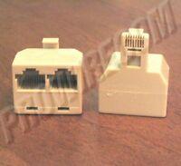 2-way Rj45 Jack Splitter Ivory Male To 2 Female 8p8c Modular Ethernet Adapter