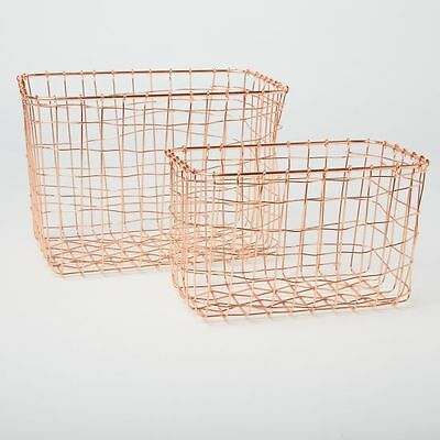 Set of 2 Wire Mesh Rectangular Baskets Copper Kitchen Storage