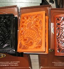 3D LEATHER MEN'S WESTERN WALLET TOOLED  TRI FOLD SADDLE TAN COWBOY RODEO