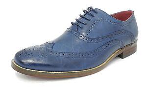 UOMO fodera in pelle eleganti con Lacci Scarpe stringate oxford blu taglia 6 7 8