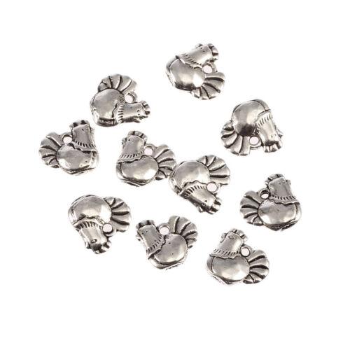 10pc Mignon Poulet Poule Pâques Rooster Tibetan Silver Bead Charms Pendentifs 12*12m