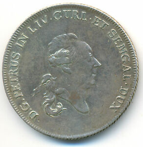 Russia-Latvia-Courland-Peter-Biron-Silver-Thaler-1780-RARE-XF