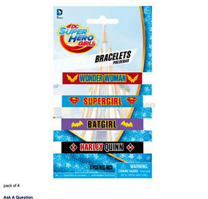 DC-SUPER-HERO-GIRLS-PARTY-SUPPLIES-4-RUBBER-BRACELETS-WRISTBANDS-FAVOURS