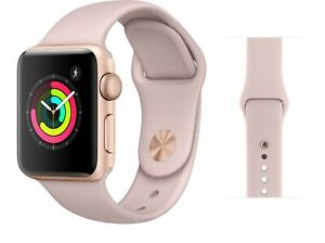 Apple Watch Series 3 38mm Gps Gold With Pink Sport Band Mqkw2ll A Ebay