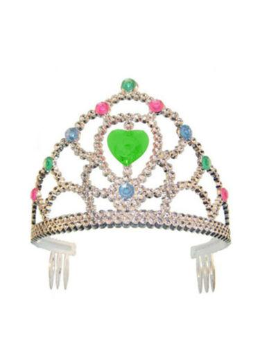 Diadem Silber mit Schmucksteinen Prinzessin Karneval