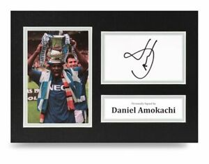 Daniel-Amokachi-Signed-A4-Photo-Display-Everton-Autograph-Memorabilia-COA