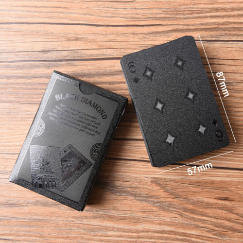 57x87mm Waterproof Black Plastic Playing Cards Black Diamond Poker Card OP