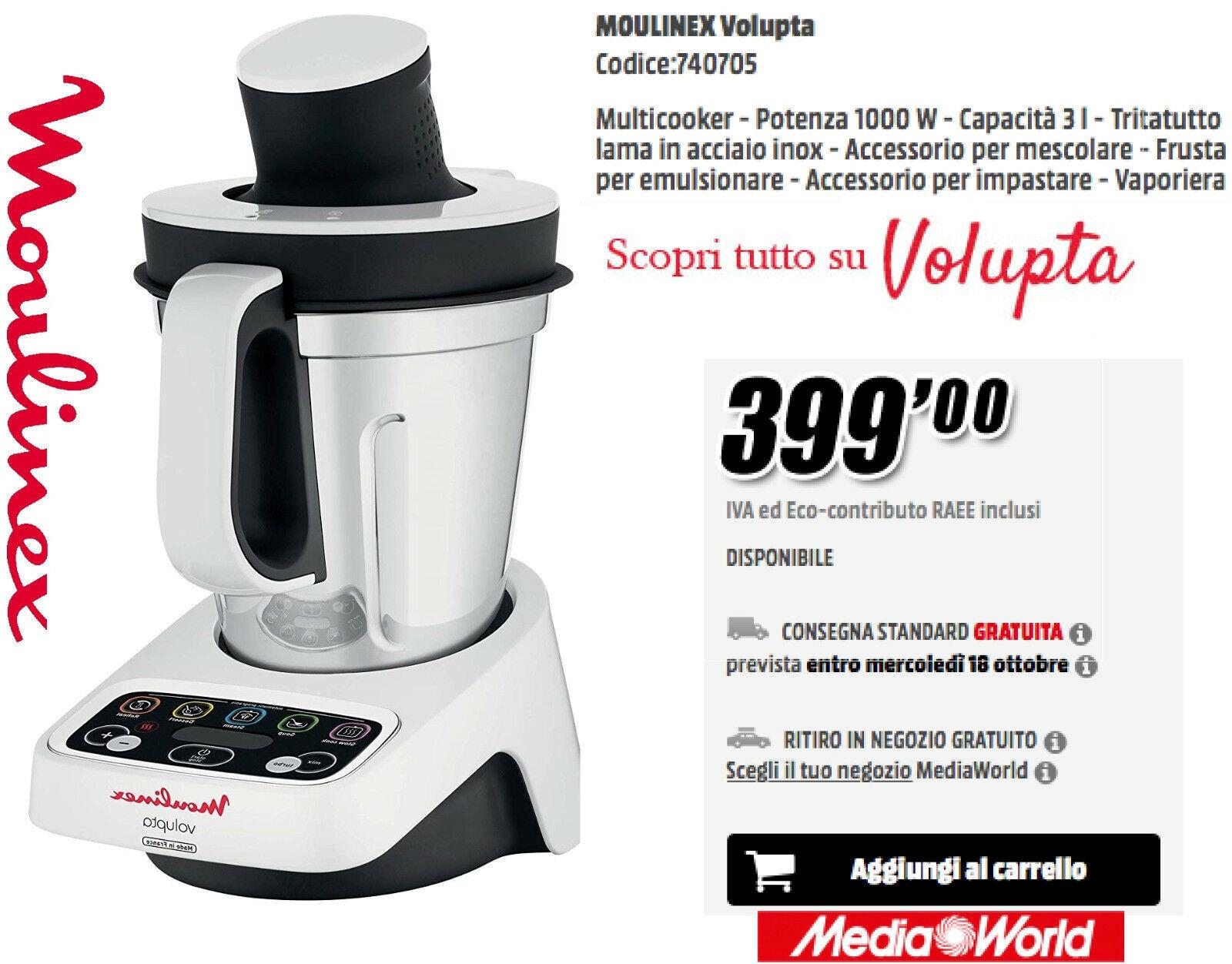 Imetec Cuko Prezzo Mediaworld.Moulinex Volupta Robot Da Cucina Hf403112