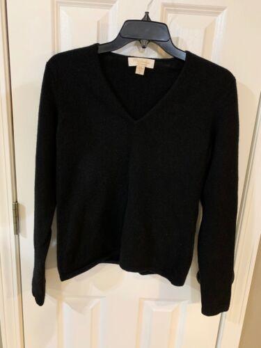 MAINBOCHER Women's 100% Pure Cashmere Black V-Neck