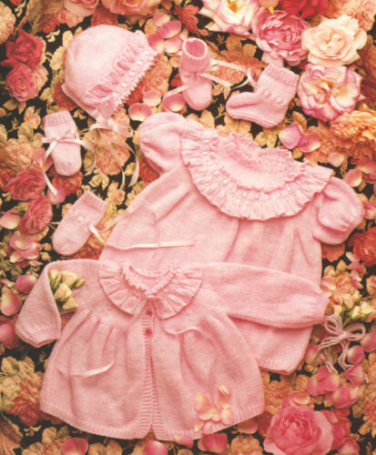 """22/"""" Knitting Pattern Baby Dress Matinee Coat Bonnet Bootees Mitts DK//4Ply 16/"""""""
