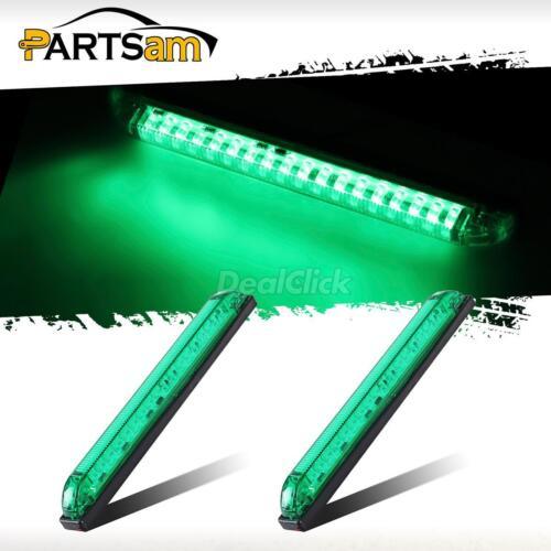 """2x 8/"""" Led Marker Light Utility Strip Bar For 12V Truck Trailer Boat 18 Green Led"""