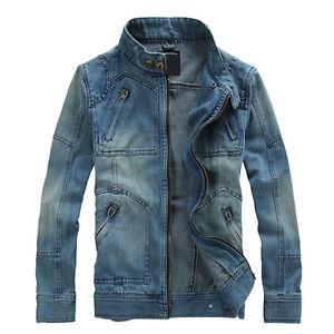Vintage Mens Denim Jacket Hooded Retro slim Jean coat outwear ...