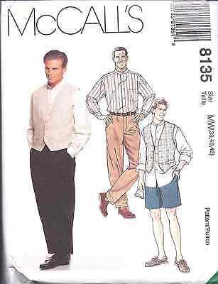 UNCUT Vintage McCalls SEWING Pattern Mens Shirt Vest Pants Shorts 8135 OOP NEW