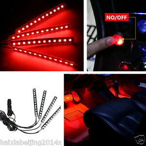 car suv interior trim decorative glow neon lamp red led atmosphere light strips ebay. Black Bedroom Furniture Sets. Home Design Ideas