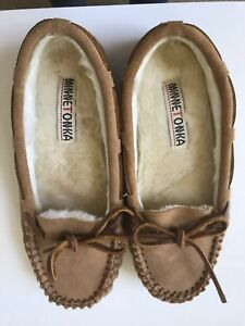 MINNETONKA Cinnamon (Brown) Suede CALLY Slipper-Pile Lined Size 7