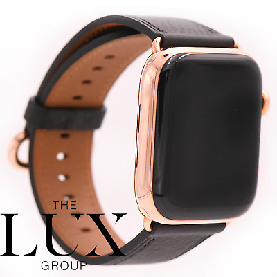 24k Rose Gold Series 5 Apple Watch 44mm With 24k Gold Apple Leather Classic Band Ebay