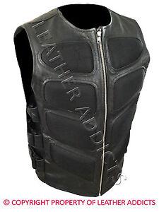 Hombre-Motero-Chaleco-Elegante-Swat-Estilo-Real-Cuero-Negro-Camiseta-Bluf