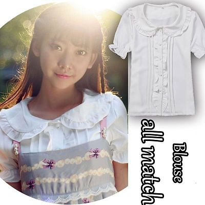 Kawaii Womens Lolita Peter Pan Collar White Blouse Short Sleeves Shirt Tops Cute