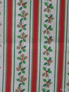 Vtg 70s Christmas Cotton Fabric Stripe Metallic Gold Bells