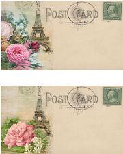 Vintage inspired Paris Eiffel Tower Post Card set 8 laminated