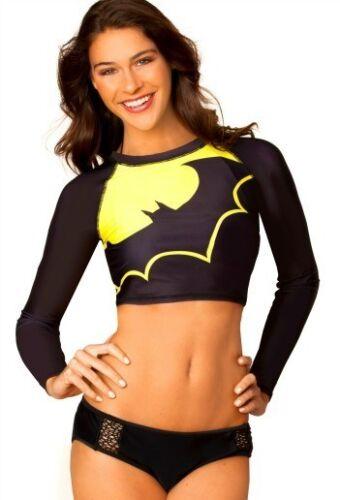Batman Symbol Dc Comics Ausschnitt Rash Guard Hemd Womens Sommer Bademode