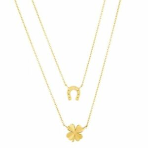 14k Yellow Gold Four Leaf Clover Diamond-cut Polished Charm Pendant 20mmx10mm