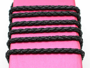 16-4-Feets-Black-Braided-Bolo-Leatherette-String-Jewelry-Cord-3mm