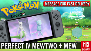 Pokemon-Let-039-s-GO-Shiny-Perfect-IV-Mewtwo-amp-Mew-Fast-Delivery