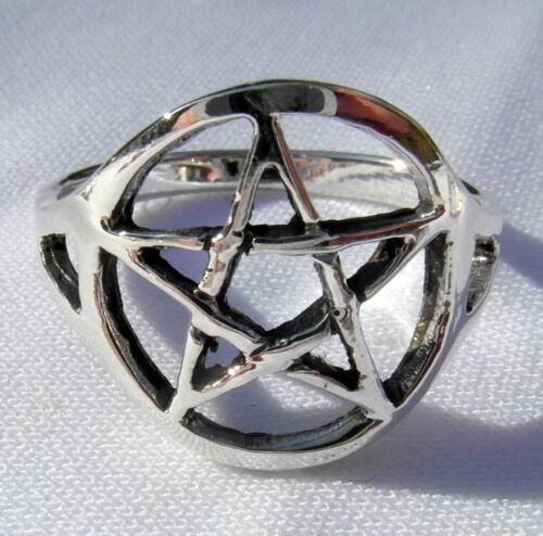 Sterling  Silver Brand  New  !! 925 Pentagram  Star   Ring   !