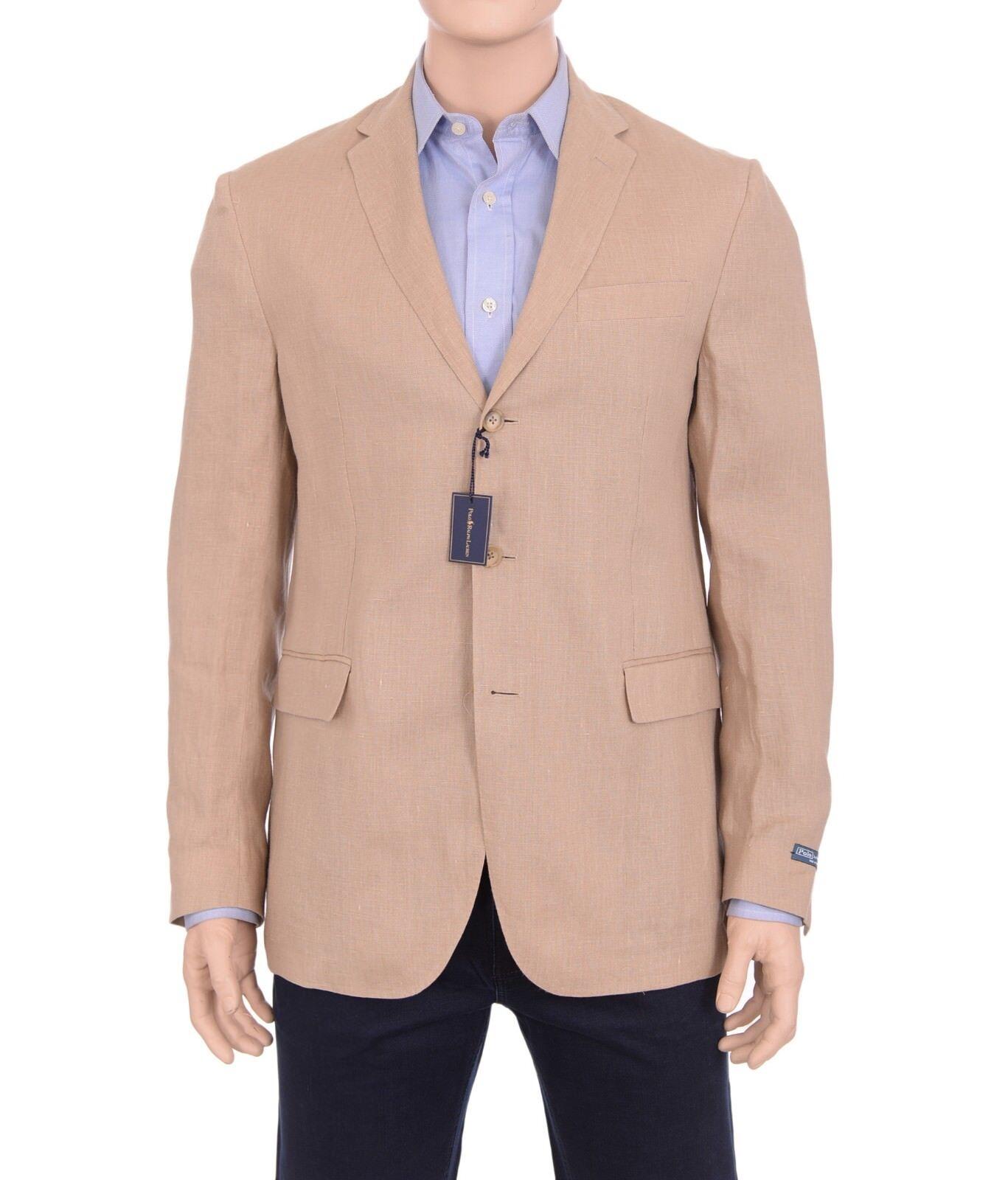 595 Polo By Ralph Lauren 42L  Herren Tan Beige Linen Gilford Blazer Sportcoat NWT