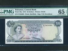Bahamas:P-38a,10 Dollars,1974 * Queen Elizabeth * Donaldson * PMG Gem UNC 65 EPQ