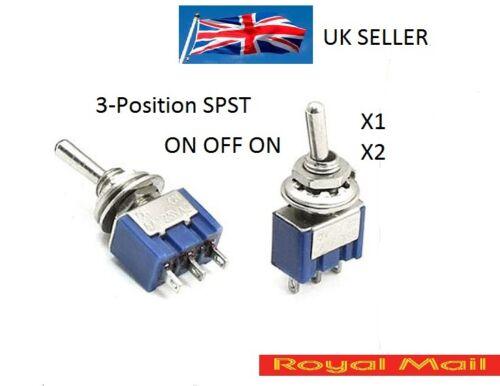 3-Position SPST Latching Mini Toggle Switch 6A 125VAC 3A 250VAC  ONOFFON #S19