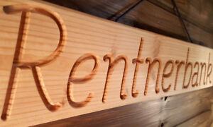 Rentnerbank - Holzschild für Opa - mit gefräster Schrift und Band massiv - 68 cm