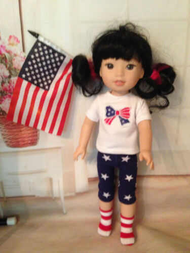 "bonus socks Patriotic Summer Outfit for 14/"" American Girl Wellie Wishers Doll"